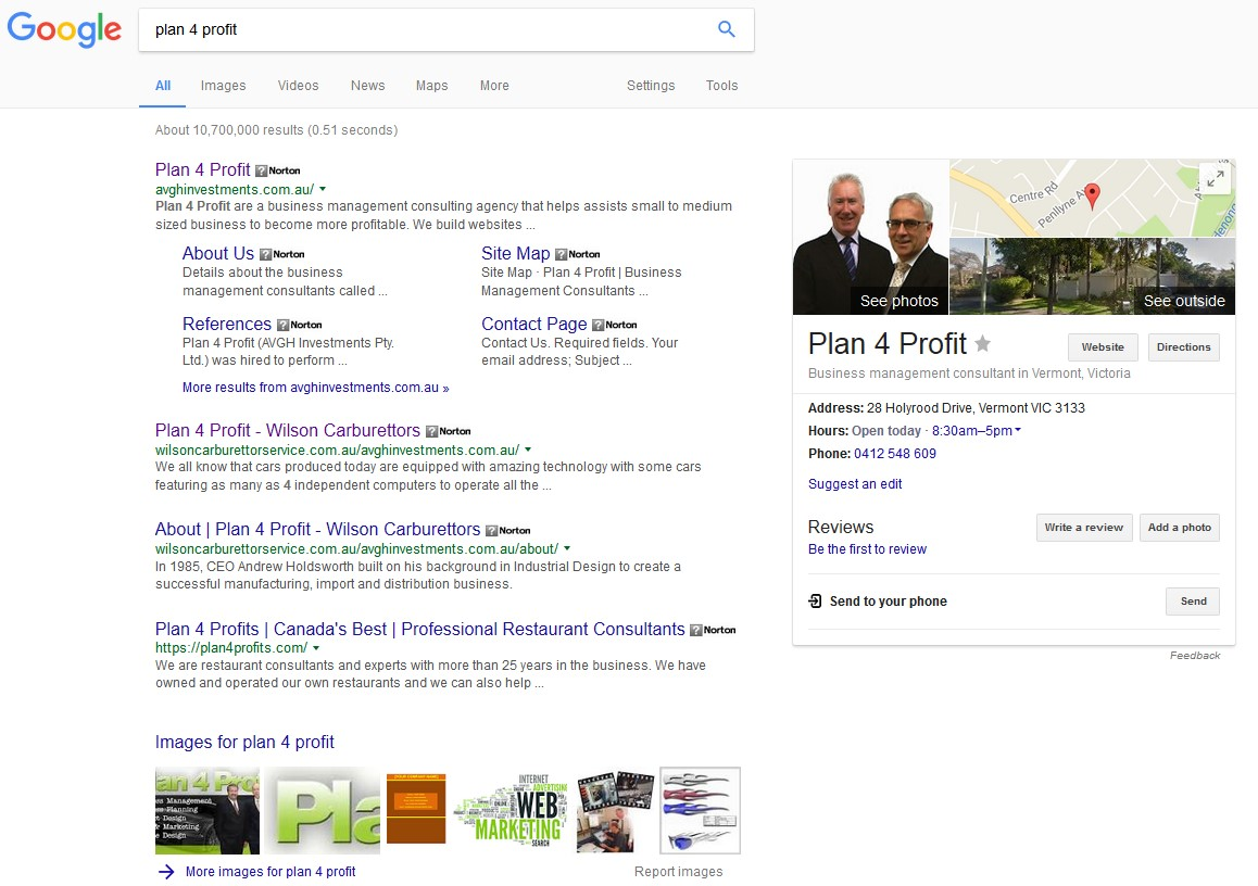 Plan 4 Profit Google ranking